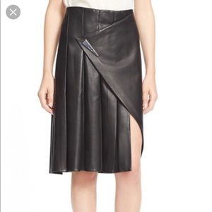 NWT Prabal Gurung Black Leather Paneled Skirt 6